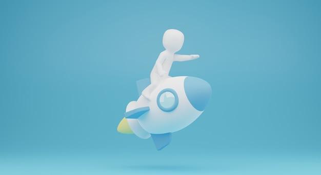 3d osoby na rakiecie. ilustracja 3d uruchamiania. renderowanie 3d