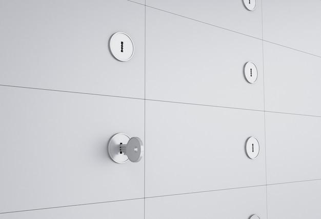 3d otwórz sejf z kluczem na dziurkę od klucza.