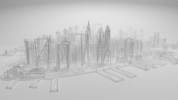 3d panorama miasta na białym tle