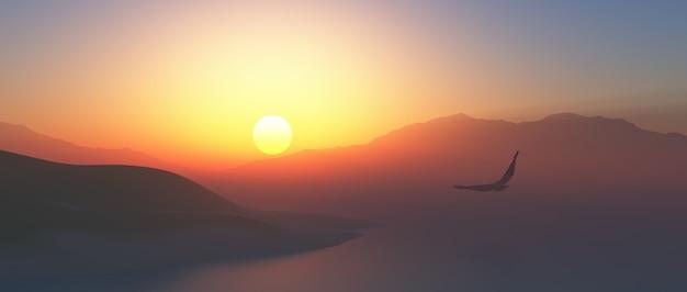 3d panoramiczny krajobraz z orłem lecącym w powietrzu