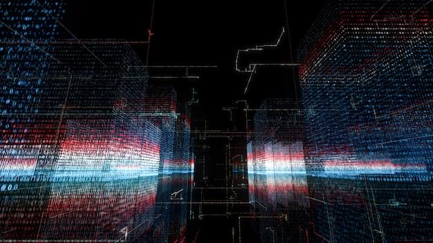 3d pętla cyfrowa technologia sieci big data hologram tło miasta.
