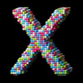 3d pikselowana litera alfabetu x