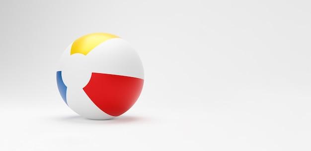 3d piłka plażowa. pasiasty nadmuchiwane zabawki gry piłka plażowa na białym tle na tle z miejsca kopiowania. letnie wakacje lub symbol plaży, ilustracja 3d