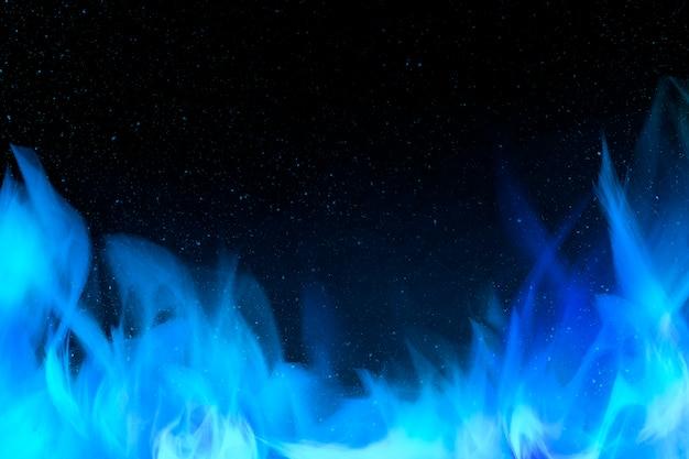 3d płonący niebieski płomień ognia