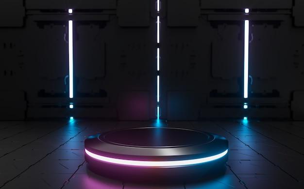 3d podium czarny piątek z neonem w futurystycznym tle do sprzedaży produktów