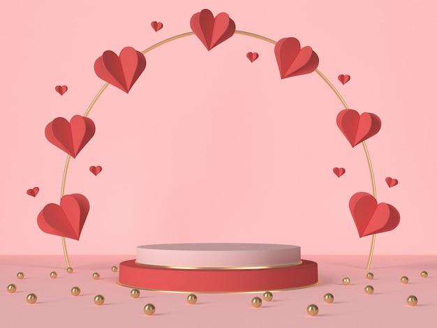 3d podium z czerwonymi sercami i dekoracją. karta walentynkowa. renderowanie 3d