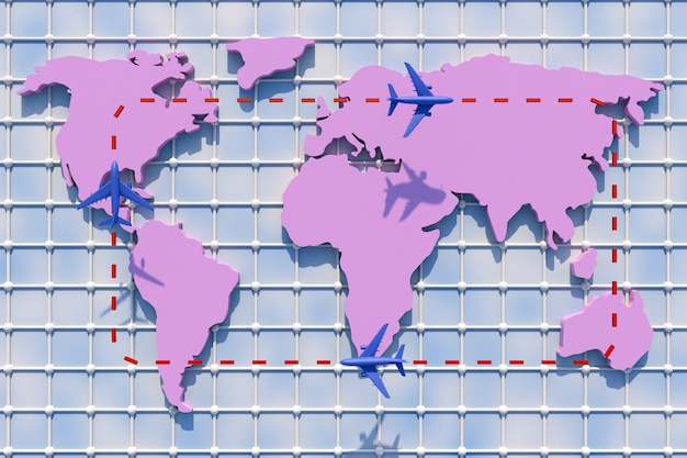 3d podróżowanie po świecie samolotem. ilustracja 3d. podróżowanie po świecie samolotem. koncepcja podróży świata