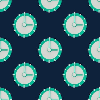 3d pojęcie czasu. zegar analogowy na pastelowy niebieski, nowoczesny minimalistyczny styl na baner