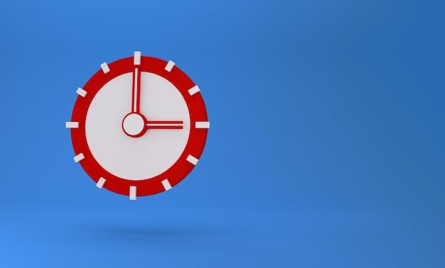 3d pojęcie czasu. zegar analogowy na pastelowy niebieski
