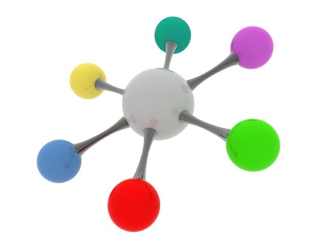 3d połączone kulki. koncepcja sieci