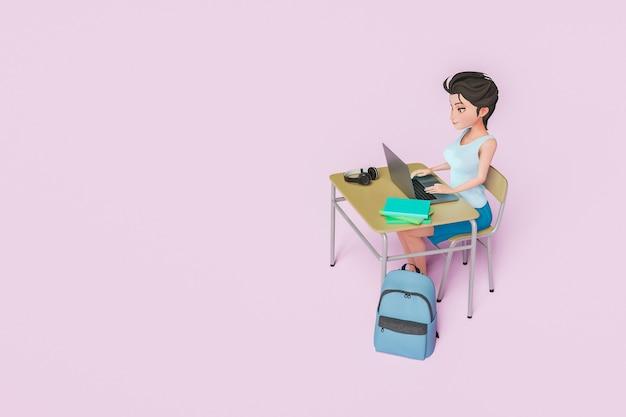 3d postać dziewczynki uczącej się w szkolnej ławce z laptopem