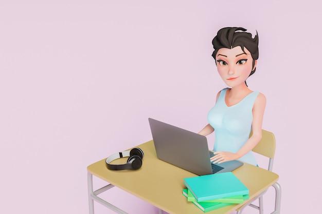 3d postać dziewczyny korzystającej z laptopa podczas patrzenia w kamerę