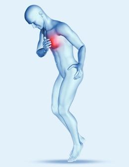 3d postać mężczyzny z bólem w klatce piersiowej