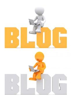 3d postać siedzi na znaku domeny blog.