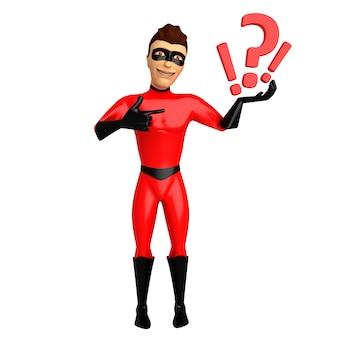 3d postać w kostiumu superbohatera, trzymając w ręku znaki zapytania. 3d ilustracji