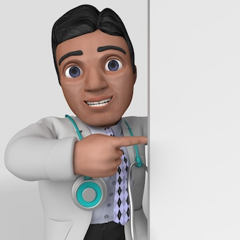3d postać z kreskówki lekarza