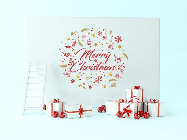 3d powitanie kartka bożonarodzeniowa z prezentów pudełkami i boże narodzenie dekoracją