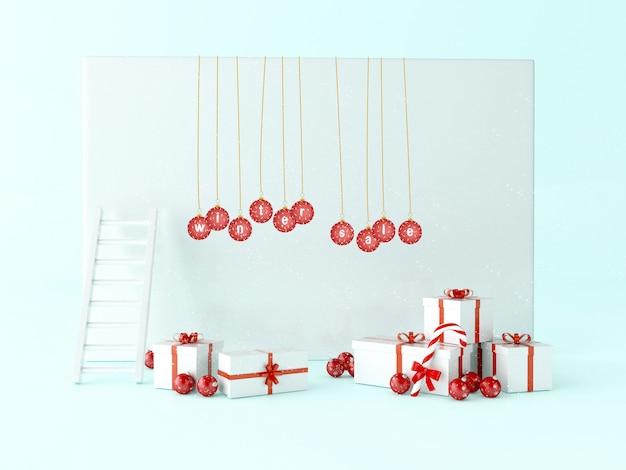 3d powitanie kartka bożonarodzeniowa z prezentów pudełkami