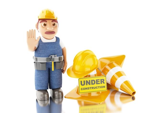 3d pracownik z kaskiem, szyszki i pod znakiem budowy