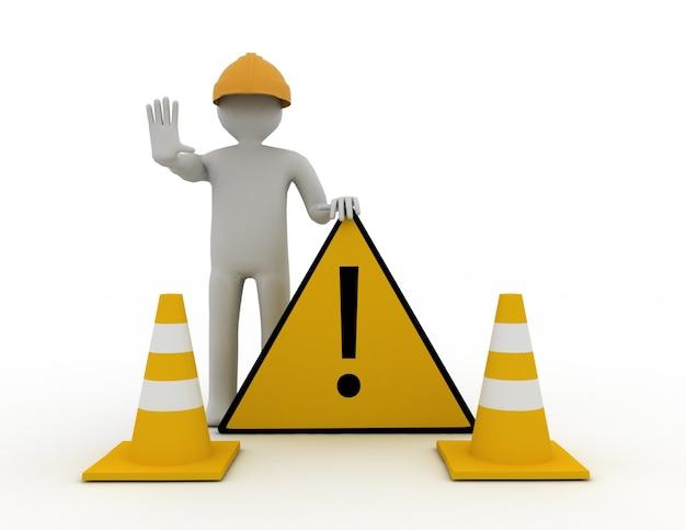 3d pracownik z monetami drogowymi i znakiem ostrzegawczym
