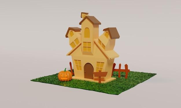 3d projekt ilustracji domu na sezon halloween