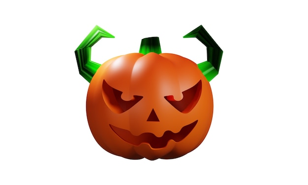 3d projekt ilustracji dyni halloween na białym tle