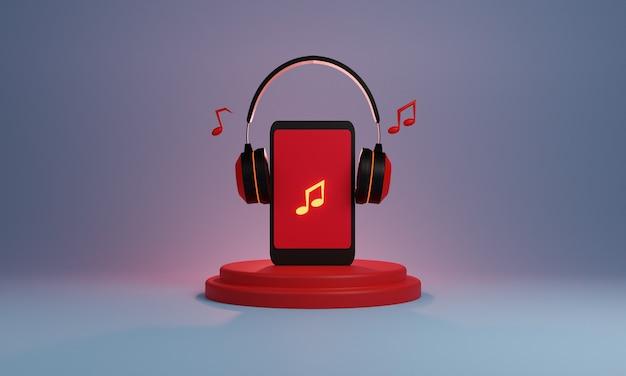 3d projekt smartfona ze słuchawkami na podium