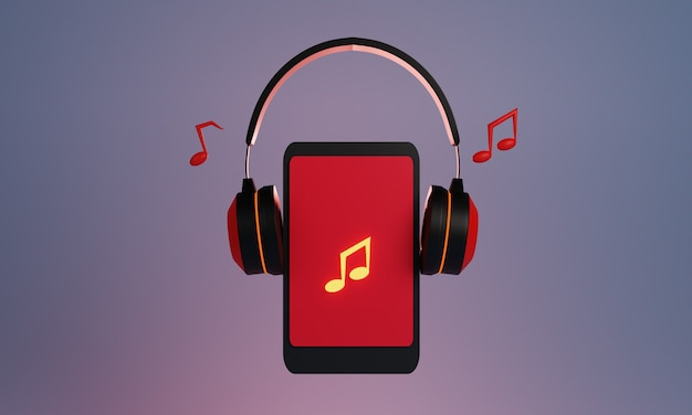 3d projekt smartfona ze słuchawkami