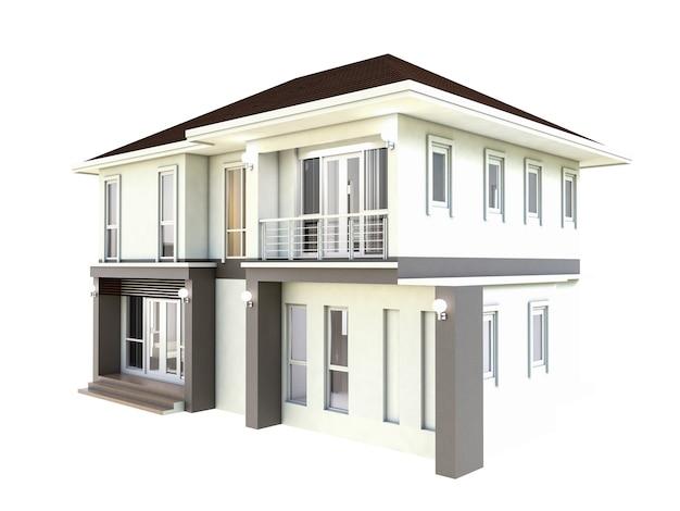 3d projekta planu ilustracyjny dom odizolowywał białego tło