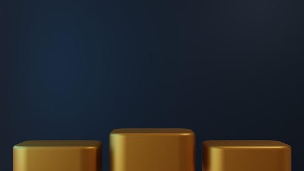 3d proste eleganckie złote podium tło