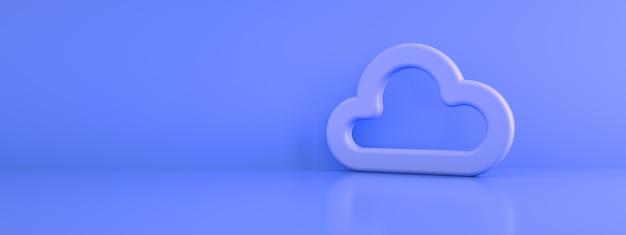 3d przechowywanie w chmurze na fioletowym tle, renderowanie 3d, panoramiczna makieta