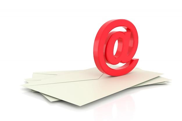 3d przy znaku. symbol e-maila. renderowanie 3d.