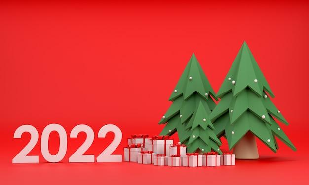 3d. pudełko prezentowe 2022, choinka na boże narodzenie i nowy rok na czerwonym tle