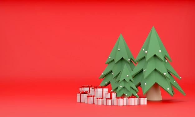 3d. pudełko prezentowe, choinka na boże narodzenie i nowy rok na czerwonym tle