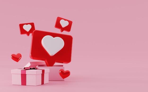 3d pudełko z pływającym czatem bąbelkowym miłość symbol mediów społecznościowych