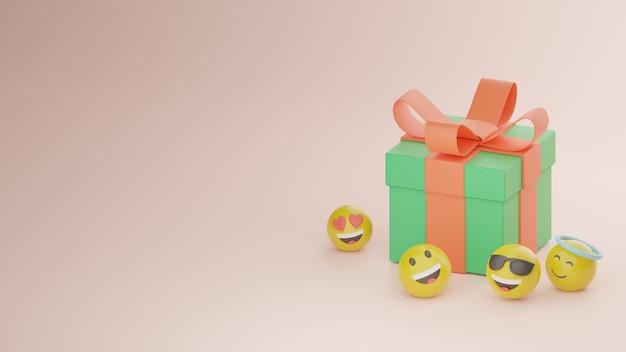 3d pudełko z prezentami i obraz premium ilustracji emoji