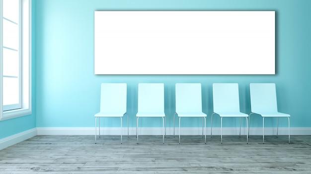 3d puste płótno w pokoju z linii krzeseł