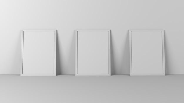 3d puste ramki do zdjęć na pustej ścianie