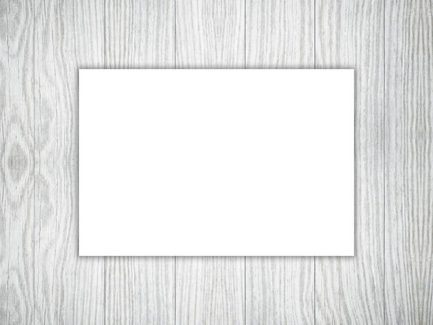 3d pusty kawałek biały papier na drewnianej teksturze
