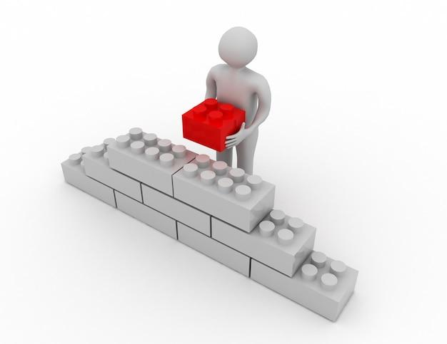 3d puzzle ściany ludzkiej kostki kamiennej. koncepcja biznesowa .3d renderowana ilustracja