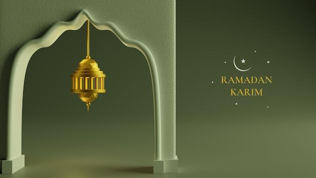 3d realistyczna złota latarnia wisząca ikona, księżyc i abstrakcyjny luksus islamski