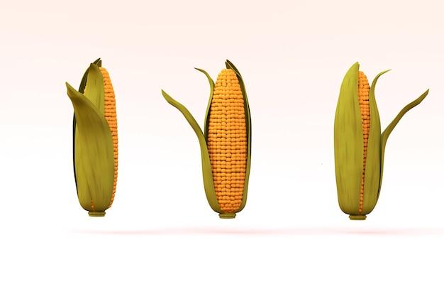 3d realistyczne modele kukurydzy na białym tle na białym tle. żółta kukurydza w zielonym liściu. trzy kukurydzy na białym tle. grafika 3d, zbliżenie