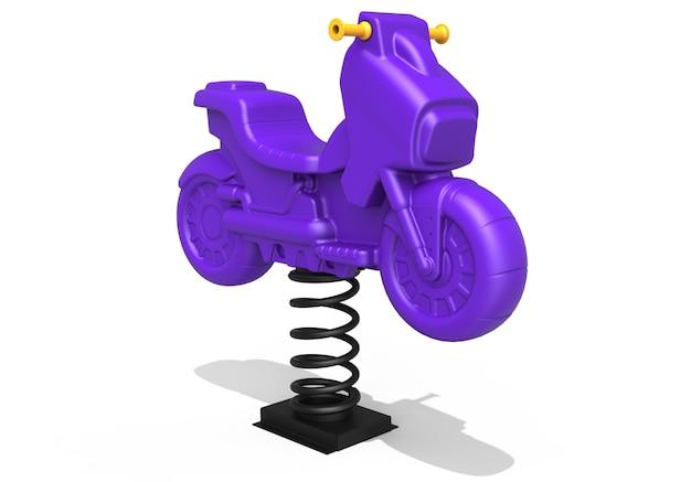 3d realistyczny plac zabaw park motocyklowy springer dla dzieci na białym tle