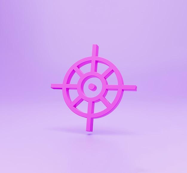 3d redner ikona celu, odizolowane na różowy kolor backgorund. koncepcja sukcesu.