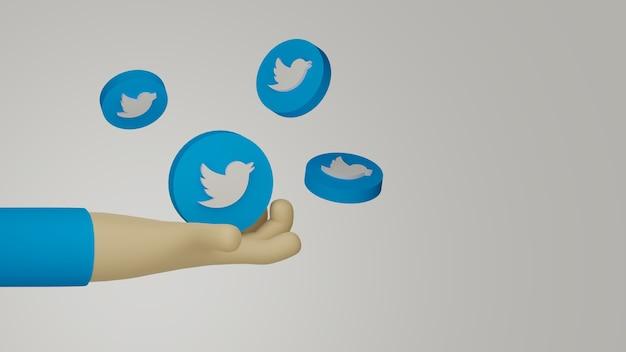 3d ręka trzyma logo twittera w tle w celach marketingowych