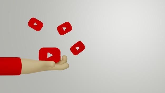 3d ręka trzyma logo youtube na tle koncepcji marketingowej