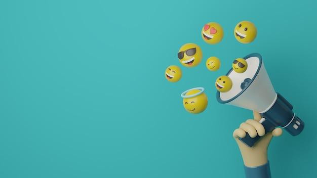 3d ręka trzymająca megafon z latającym emoji do koncepcji reklamowej