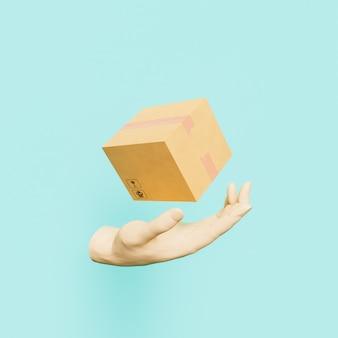 3d ręka z pakietem dostawy