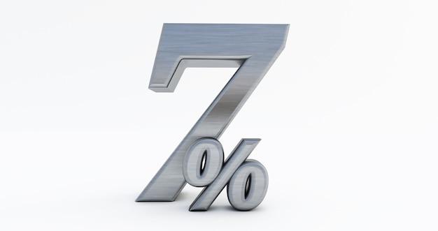 3d render 7 procent zniżki, metal siedem procent na białym tle.