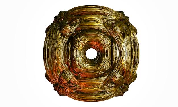 3d render abstrakcji z 3d surrealistyczną rzeźbą w sferycznej krzywej organicznej okrągłe faliste linie biologiczne w białym matowym plastiku i błyszczącym złotym materiale metalowym na jasnoszarym tle